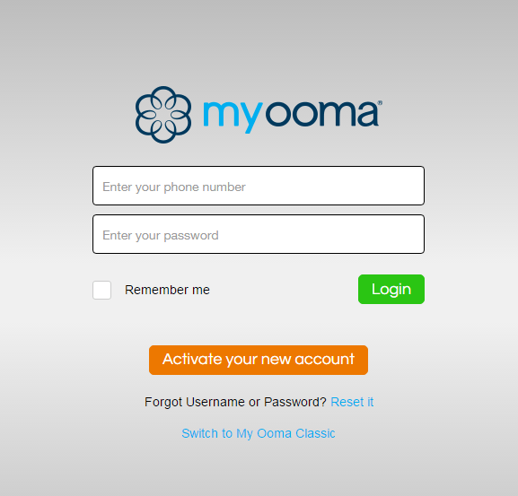 Ooma Login Page